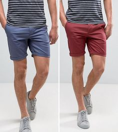ASOS 2 Pack Slim Chino Shorts In Berry & Blue SAVE - Multi