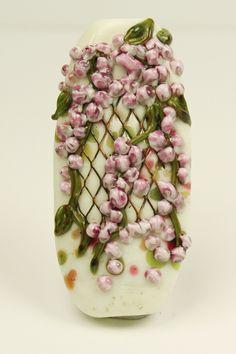 SRA Handmade Lampwork Glass Bead Pink by StoneDesignsbySheila
