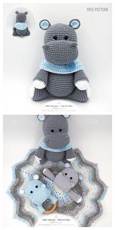 Crochet Applique Patterns Free, Crochet Animal Patterns, Stuffed Animal Patterns, Crochet Blanket Patterns, Free Crochet, Crochet Hippo, Crochet Animal Amigurumi, Crochet Baby Toys, Crochet Animals