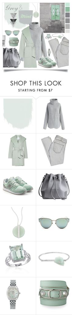 """""""Grey & Mint"""" by ezgi-g ❤ liked on Polyvore featuring Seed Design, Chicwish, MaxMara, Current/Elliott, New Balance, Swarovski, Christian Dior, Belk & Co., Acne Studios and Links of London"""