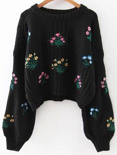 Embroidered Chunky Sweater