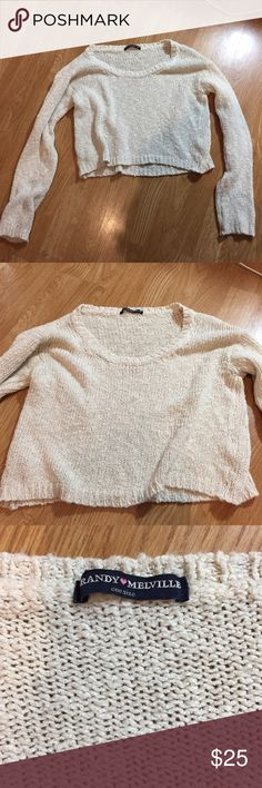 Brandy Melville cropped sweater Cropped knitted sweater from brandy melville, one size fits most but it is pretty small. Most likely fit xs Brandy Melville Sweaters Crew & Scoop Necks