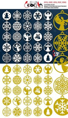 25 Christmas, New Year Ornaments - vector digital files to use for your crafting projects. Our cut files are perfect for home Christmas Wood, Christmas And New Year, Christmas Crafts, Christmas Ornaments, Cricut, New Years Tree, Laser Cutter Projects, Ideias Diy, Wall Signs