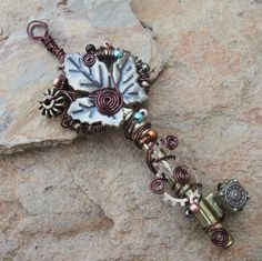 key jewerly | made using a large found brass key the key is wrapped in a chocolate ...