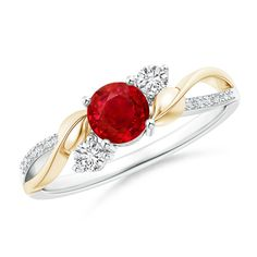 Ruby and Diamond Twisted Vine Ring in 14K White and Yellow Gold (5mm Ruby)