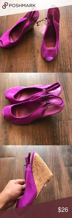 H&M fuchsia cork wedge heels NWT NWT H&M cork platform wedge heels in fuchsia (pinkish purple) Has small dents inside due to storing incorrectly, otherwise in good shape (see pics)  Brand new with tag! H&M Shoes Wedges