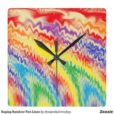 Raging Rainbow Fire Lines Square Wall Clock #clock #timepiece #homedecor #officedecor #interiordesign