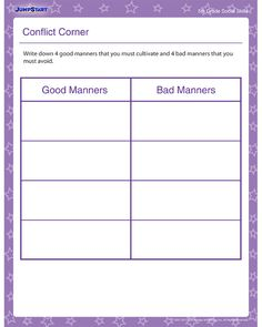 Printables Good Manners Worksheet manners worksheet and worksheets conflict corner social skills for 5th grade distinguishing good bad manners