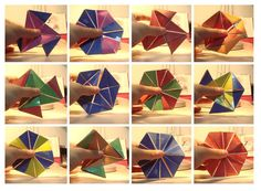 A flexagon looks like a piece of heavy paper folded into a hexagon shape, but you can turn it inside out. The best thing is that you're never quite sure what you'll see next! Origami Toys, Origami Cube, Math For Kids, Fun Math, Paper Art, Paper Crafts, Diy Crafts, Mathematical Drawing, Waldorf Math
