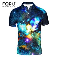 a82e17d82 FORUDESIGNS Cool Galaxy Space Stars Printing Men's Polo Shirts Brands Casual  Summer Short Sleeve Cotton Camisa