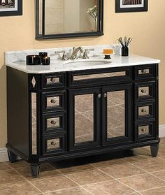 Small Bath Solution, A Mirrored Vanity.