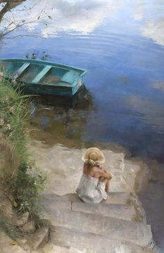 Peaceful time painted by Vicente Romero
