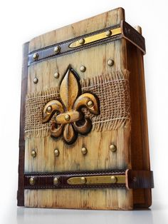 Gothic Fleur de Lis Journal - Unique collector piece. Size is 8.5 x 6.3 inches and thickness around 2.5 inches.