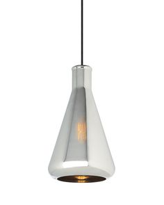 Modeled after a flask, the Erlen pendant by @lbllighting is made of mouth-blown glass and is partially translucent when illuminated.