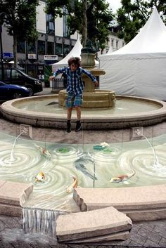 3d street art, extension of the fountain in Limburg