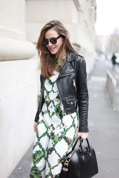 Garden lattice print and a moto jacket. Modern perfection.