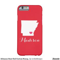Arkansas Heart Red Custom Monogram Barely There iPhone 6 Case