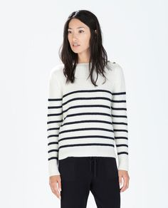 ZARA - SPECIAL PRICES - STRIPED SWEATER WITH SHOULDER BUTTONS