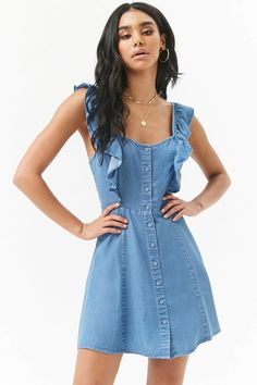 Product Name:Chambray Button-Front Ruffle-Trim Mini Dress, Category:dress, Price:22.9
