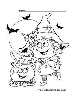Halloween witch Printabel coloring pages