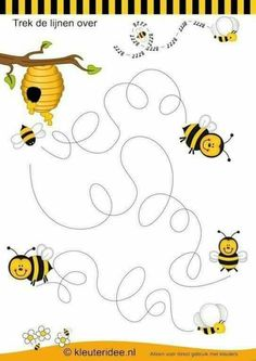 Crafts,Actvities and Worksheets for Preschool,Toddler and Kindergarten.Free printables and activity pages for free.Lots of worksheets and coloring pages. Bee Activities, Preschool Themes, Preschool Writing, Preschool Worksheets, Bee Party, Pre Writing, Bugs And Insects, Crafts For Kids, Free Printable