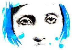Lady Gaga - Parker Pen, Blue Ink, illustration by Mitja Bokun, August 2012