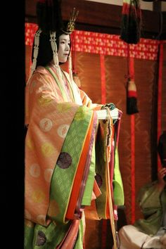"""Japan - The Jûni Hitoe (十二単衣) is a 12 layers Kimono, worn by the ladies of the Imperial Court. This elegant and complex outfit appears in the ancient Japanese novel the Tale of Genji. // """"started to appear around the 10th century during the Heian Era. The various layers are silk garments. The innermost garment is made of white silk, followed by other layers which have various names, which are finally closed off by a final layer or coat. The total weight could add up to 20 kilograms.""""…"""