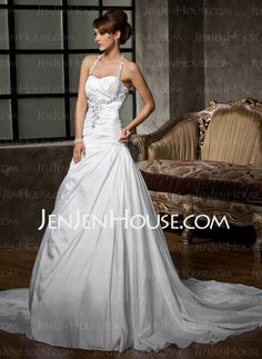 Wedding Dresses - $187.69 - A-Line/Princess Halter Chapel Train Taffeta Wedding Dresses With Ruffle  Beadwork (002011410) http://jenjenhouse.com/A-line-Princess-Halter-Chapel-Train-Taffeta-Wedding-Dresses-With-Ruffle--Beadwork-002011410-g11410