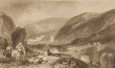 Rievaulx Abbey Yorkshire, antique print, an engraving from circa 1880 after the original painting by J M Turner. Rievaulx Abbey was a Cistercian abbey in Rievaulx, situated near Helmsley in the North York Moors National Park, North Yorkshire, England. North Yorkshire, Yorkshire England, Antique Prints, Is 11, Original Paintings, National Parks, Antiques, Gallery, Art
