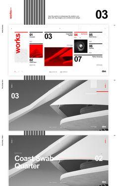 Das - Architecture (template) on Behance Page Layout Design, Website Design Layout, Web Layout, Swiss Design, Red Design, Graphic Design Posters, Graphic Design Typography, Typography Layout, Portfolio Designer
