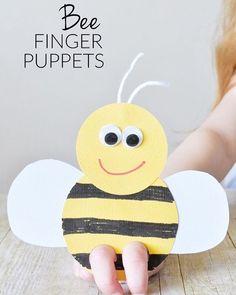 Fingerdockor är alltid poppis hemma hos oss. Dessa små bin var helt underbara ! Se beskrivning på iheartcraftythings.com Bild: Pinterest (iheartcraftythings.com)