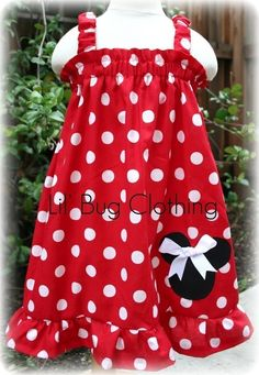 Custom Boutique Clothing Red White Dot Minnie Mouse Dress 12 18 24 2t 3t 5t 6 7 girl