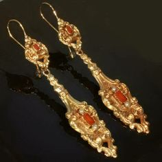 A rare pair of Victorian earrings, circa 1830's, crafted in France, 18kt yellow gold and carnelian stones, French wire closure, excellent an...