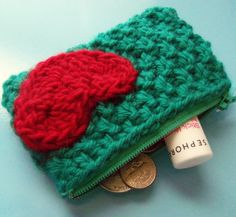 teal & red sweetheart change purse - handknit textured woven-look lined zipper coin pouch with crochet heart applique. $15.00, via Etsy.