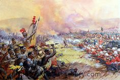 "Ulundi, the final battle of the Zulu War, at which the army of Cetewayo was destroyed 4th July 1879. The Zulu warriors were formed in regiments by age, their standard equipment the shield and the stabbing spear. The formation for the attack, was said to have been devised by Shaka, the Zulu King.   The main body of the army delivered a frontal assault, while the ""horns"" spread out behind each of the enemy's flanks and delivered the secondary and often fatal attack in the enemy's rear."