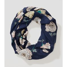 LOFT Peony Pom Pom Infinity Scarf ($40) ❤ liked on Polyvore featuring accessories, scarves, nautical navy, infinity scarves, loop scarf, infinity scarf, tube scarf and infinity loop scarves