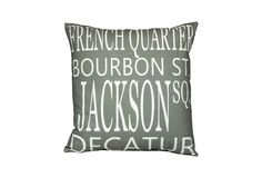 One Kings Lane - Destination: Home - New Orleans 20x20 Pillow, Gray by Uptown Artworks