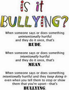 Rude vs. Mean vs. Bullying This is an important visual for both educators and parents. I think at times lines get blurred on what bullying is and this can help clarify bullying behavior.