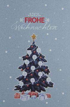 Traditionelle Weihnachtskarte mit Christbaum. Christen, Christmas Ornaments, Holiday Decor, Poster, Home Decor, Weihnachten, Xmas Cards, Christmas Ornament, Interior Design