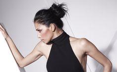Herunterladen hintergrundbild nicole scherzinger, us-amerikanische sängerin, brünette, porträt, schwarzes kleid, schöne frau