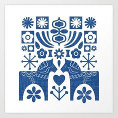 Swedish Folk Art - Blue Canvas Print by miavaldez Artwork Prints, Canvas Art Prints, Fine Art Prints, Blue Canvas, Blue Art, Affordable Art, Folk Art, Walls, Lino Cuts
