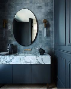 Interior design studio Mrs Smith bring glimpses of Paris to an unassuming harbourside home, injecting a sense of escapism around every corner. Interior Design Studio, Bathroom Interior Design, White Bathroom, Master Bathroom, Bathroom Store, Colorful Bathroom, Marble Bathrooms, Blue Bathrooms Designs, Color Tile