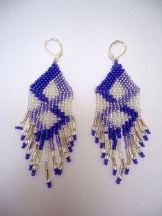 Beaded earrings chandelier style in diamond by JoolsbyAveril, $21.00
