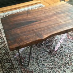 A custom made walnut slab coffee table/bench/desk would be great in any home. The fact that its unique, one of a kind solid piece of wood, would make it a great talking point when friends come round. I can make any coffee table or bench or desk to order. I would just need the dimensions.  You can also just have the table top without the legs, just ask for a quote. As well as you can choose what height legs between coffee table height and desk height.  The table in the picture is:  Length…