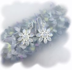 Blooming Floral Rainbow Moonstone .925 Sterling Silver Dangle Earrings http://www.thechocolateopal.com/moonstone-dangle-earrings.html