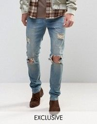 Mennace | Mennace Slim Jeans With Rips In Mid Wash