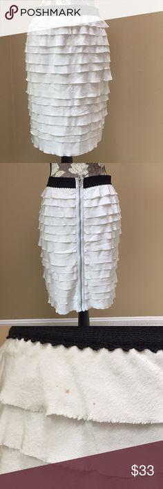 NWT BCBG Performance Fabric Layer skirt BCBG layered skirt is made with performance fabric. Size small. 19.5 inch length. Elastic waistband. Zipper down the back. 100% silk. Light gray color. Small dot shown in picture 3. BCBGMaxAzria Skirts Mini