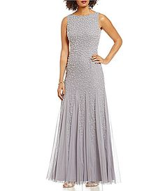 Adrianna Papell Pearl Beaded Sleeveless Gown #Dillards