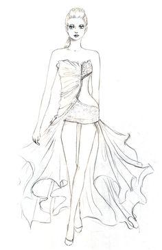 Fashion Designing Dress Sketches Hand Drawn Fashion Models 3 Dress