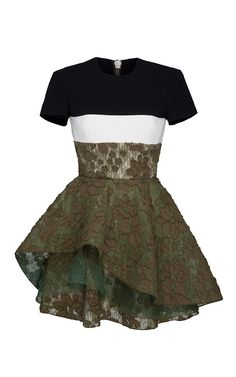 Delphine Satin Crepe Sleeve Floral Lace Mini by ALEX PERRY for Preorder on Moda Operandi